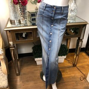 7 for All Mankind Denim Maxi Button Front Skirt